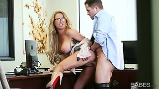 Young boss fucks sextractive blond secretary in glasses Corrina Blake