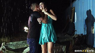 Milf Wife Gets Her Clothes Ripped Under The Rain