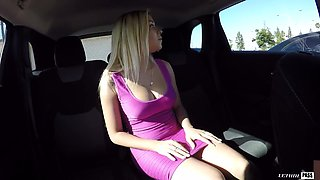 Delightful beauty Marsha May gets banged in the car