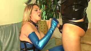 Sexy blonde milf in blue latex