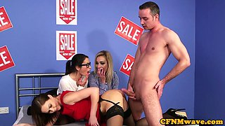 Euro beauty pussyfucked during CFNM scene