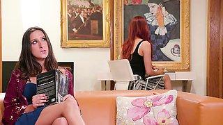 Naughty busty brunette babe seduce n licks redhead librarian