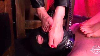 Femdom foot worship two mistress