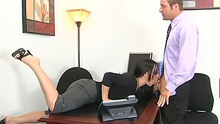 Kylee King cannot wait to wrap her lips around her employee's cock