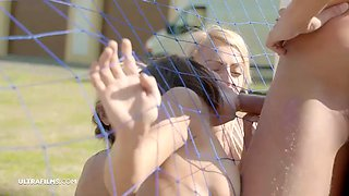 Soccer babes training session