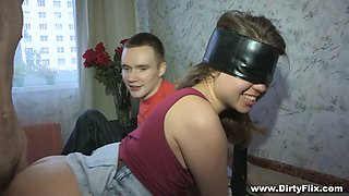 Dude allows his best friend to fuck blind folded GF Rita Jalace