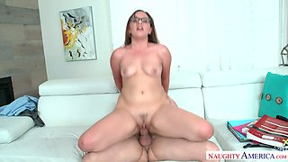 Seductive student Callie Klein rides dick of her teacher
