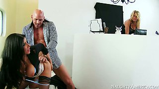 Big boobed lusty MILFs have nice threesome with brutal stud Johnny Sins