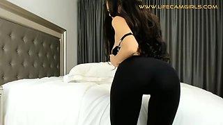 Perfect elastic ass in tight leggings pov close up