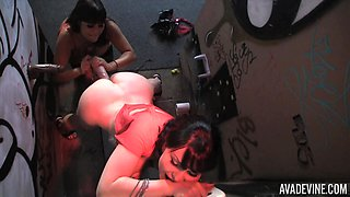 Glory-hole dick sharing with Ava Devine and another stunner