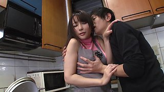 Haruka Aizawa seduced by a guy for a nasty fuck in a kitchen