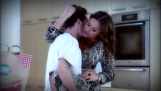 Brunette in high heels gets horny while fucked Hardcore in the kitchen