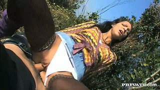 Brunette teen in stockings gets fucked in the forest on POV cam