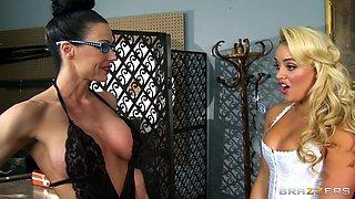 Lesbian Master Dominates Blonde Slave