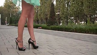 transparent outfit and high heels in public