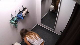 Amazing Big Tits Girl Spied on in Changing Room