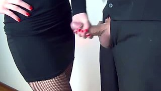 This officer chick is a handjob expert and she loves having her dress cum on