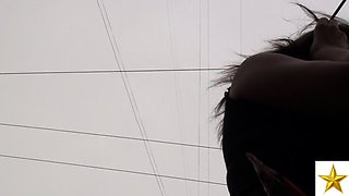 Street voyeur follows a desirable Russian girl with hot legs