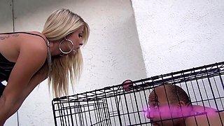 Hot blonde sadistic mistress whips her slave