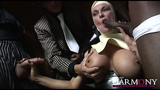 Mega busty insatiable nun pleasures 3 brutal studs with stout deep throat by turn