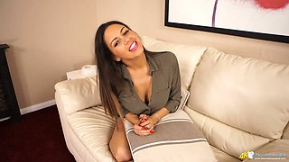 Horny secretary Roxxy Lea shows off her yummy boobies