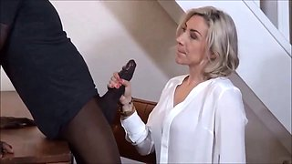 French mature sut takes bbc in all holes
