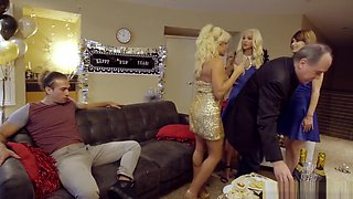 New Years Eve Family Fuck - hot step sisters seduce and fuck their brother