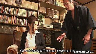 Big tittied Japanese college chick Mai Kuroki is fucked by perverted teacher