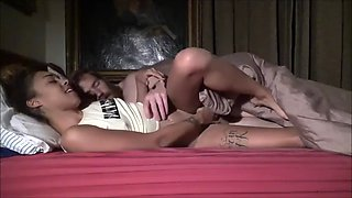 Tiny ebony step sister shares brother&#39s bed