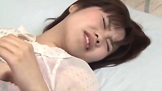 Japanese nurse in white stockings gives amazing blowjob