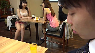 Japanese babe with a Short Skirt fucked at a Cafe