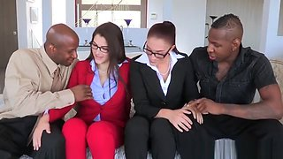 Milf 4way celebrating end of shoot with cock