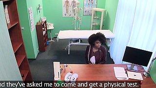 Fake Hospital Doctor gives sexy ebony Brazilian student