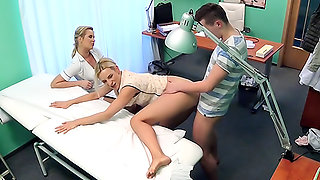 Nurse watches as sexy couple fuck