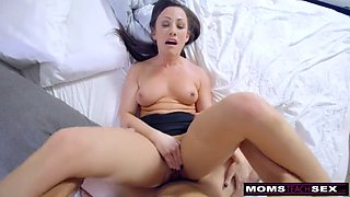step-mom wakes sleeping son for cock and creampie