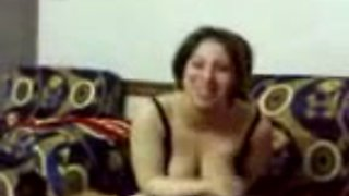 Full bodied Arab girl in black lingerie dancing sexy on webcam