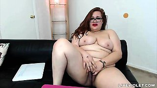 Dirty talking BBW Molly Midnight with glasses fingering