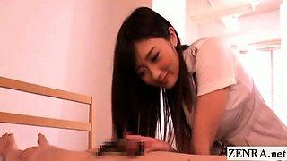 Subtitled Japanese CFNM foot fetish and handjob cumshot