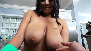 Maid cleans kitchen naked