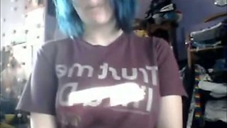 Blue haired amateur emo girl with pierced lip was rubbing her clit