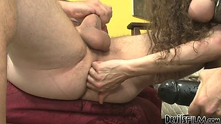 Dissolute mommy Alexandra Silk makes Paul Carrigan suck a strap on