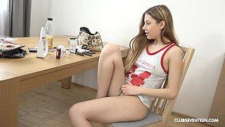 Cute teen babe Rebecca Volpetti strips and masturbates solo