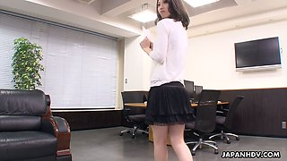 Asian secretary Mitsuki is fucked by several co-workers right in the office