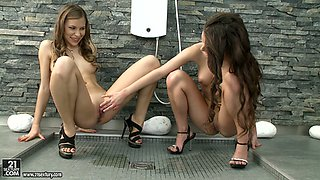 Sweet slim lesbians Anita B and Candy Love perform hot sex in bedroom