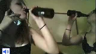 Teens Tease Around And Have A Drink In Front Of Webcam