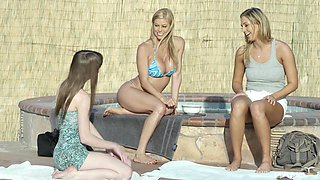 Alexa Nova and her two friends finally get to masturbate outdoors