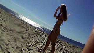 Beach voyeur follows gorgeous young babes in tight bikinis