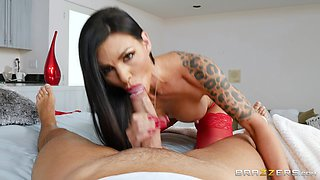 Melissa Lynn is a stunning babe in red stockings in need of a fuck