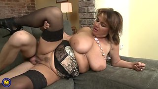 Mature busty moms seduce young boys
