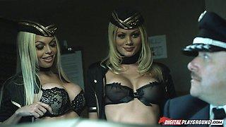 Double teamed Asian beauty shares their dicks on a plane